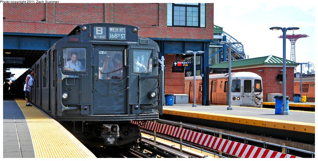 (373k, 1044x530)<br><b>Country:</b> United States<br><b>City:</b> New York<br><b>System:</b> New York City Transit<br><b>Location:</b> Coney Island/Stillwell Avenue<br><b>Route:</b> Transit Museum Nostalgia Train<br><b>Car:</b> R-1 (American Car & Foundry, 1930-1931) 381 <br><b>Photo by:</b> Zach Summer<br><b>Date:</b> 7/23/2011<br><b>Notes:</b> With R46 5610 on the F<br><b>Viewed (this week/total):</b> 0 / 1246