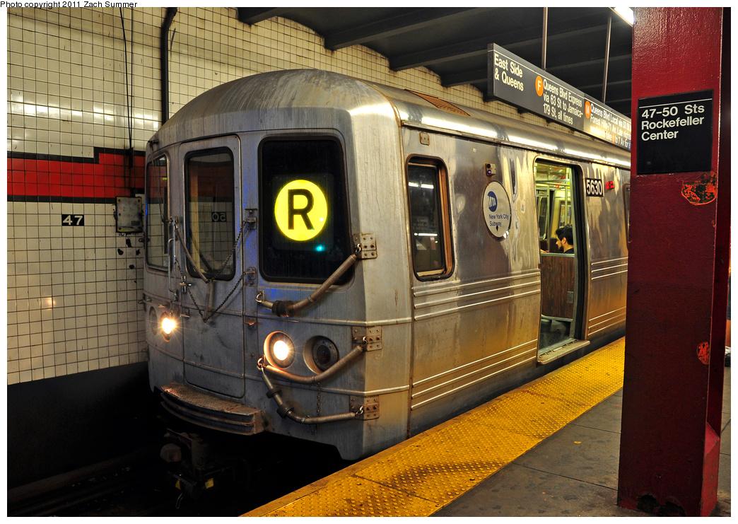 (434k, 1044x741)<br><b>Country:</b> United States<br><b>City:</b> New York<br><b>System:</b> New York City Transit<br><b>Line:</b> IND 6th Avenue Line<br><b>Location:</b> 47-50th Street/Rockefeller Center <br><b>Route:</b> R Reroute<br><b>Car:</b> R-46 (Pullman-Standard, 1974-75) 5630 <br><b>Photo by:</b> Zach Summer<br><b>Date:</b> 7/23/2011<br><b>Viewed (this week/total):</b> 3 / 1185