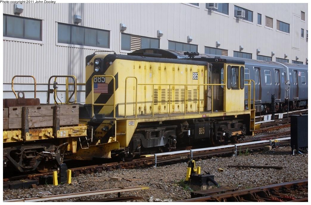 (349k, 1044x687)<br><b>Country:</b> United States<br><b>City:</b> New York<br><b>System:</b> New York City Transit<br><b>Location:</b> Coney Island Yard<br><b>Route:</b> Work Service<br><b>Car:</b> R-77 Locomotive  885 <br><b>Photo by:</b> John Dooley<br><b>Date:</b> 7/23/2011<br><b>Viewed (this week/total):</b> 0 / 490