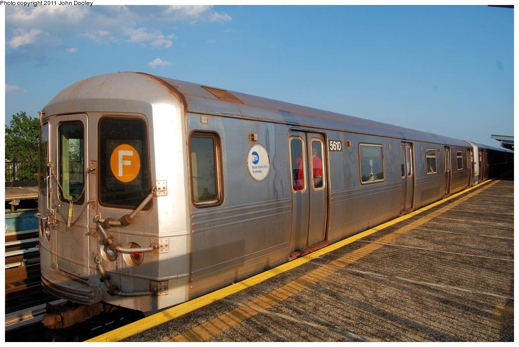 (309k, 1044x699)<br><b>Country:</b> United States<br><b>City:</b> New York<br><b>System:</b> New York City Transit<br><b>Line:</b> BMT Culver Line<br><b>Location:</b> Bay Parkway (22nd Avenue) <br><b>Route:</b> F<br><b>Car:</b> R-46 (Pullman-Standard, 1974-75) 5610 <br><b>Photo by:</b> John Dooley<br><b>Date:</b> 7/26/2011<br><b>Viewed (this week/total):</b> 2 / 907