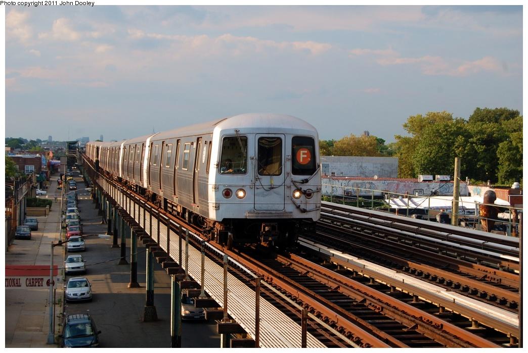 (326k, 1044x699)<br><b>Country:</b> United States<br><b>City:</b> New York<br><b>System:</b> New York City Transit<br><b>Line:</b> BMT Culver Line<br><b>Location:</b> Bay Parkway (22nd Avenue) <br><b>Route:</b> F<br><b>Car:</b> R-46 (Pullman-Standard, 1974-75) 5616 <br><b>Photo by:</b> John Dooley<br><b>Date:</b> 7/26/2011<br><b>Viewed (this week/total):</b> 3 / 1008