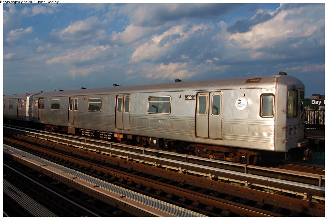 (282k, 1044x699)<br><b>Country:</b> United States<br><b>City:</b> New York<br><b>System:</b> New York City Transit<br><b>Line:</b> BMT Culver Line<br><b>Location:</b> Bay Parkway (22nd Avenue) <br><b>Route:</b> F<br><b>Car:</b> R-46 (Pullman-Standard, 1974-75) 5686 <br><b>Photo by:</b> John Dooley<br><b>Date:</b> 7/26/2011<br><b>Viewed (this week/total):</b> 0 / 754