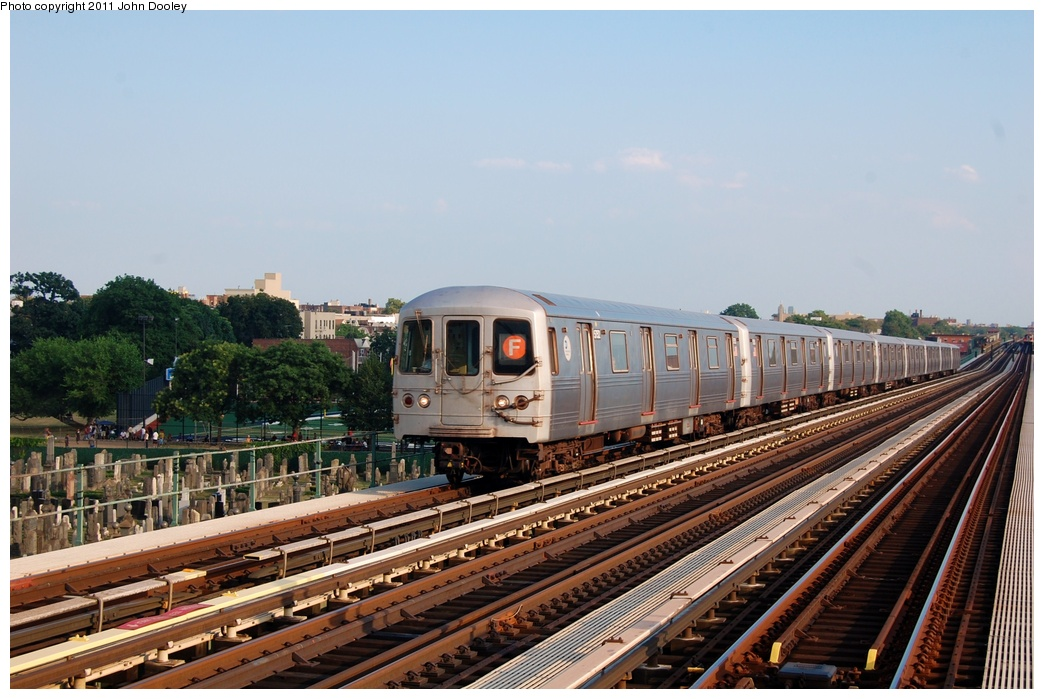 (313k, 1044x699)<br><b>Country:</b> United States<br><b>City:</b> New York<br><b>System:</b> New York City Transit<br><b>Line:</b> BMT Culver Line<br><b>Location:</b> Bay Parkway (22nd Avenue) <br><b>Route:</b> F<br><b>Car:</b> R-46 (Pullman-Standard, 1974-75) 5686 <br><b>Photo by:</b> John Dooley<br><b>Date:</b> 7/26/2011<br><b>Viewed (this week/total):</b> 1 / 688