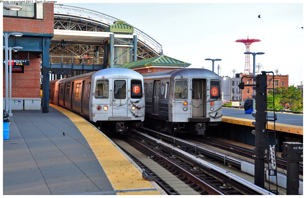 (406k, 1044x675)<br><b>Country:</b> United States<br><b>City:</b> New York<br><b>System:</b> New York City Transit<br><b>Location:</b> Coney Island/Stillwell Avenue<br><b>Route:</b> F<br><b>Car:</b> R-46 (Pullman-Standard, 1974-75) 5816 <br><b>Photo by:</b> Zach Summer<br><b>Date:</b> 7/26/2011<br><b>Notes:</b> With R68 2620 on the D<br><b>Viewed (this week/total):</b> 0 / 1948