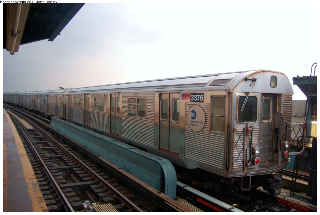 (248k, 1044x701)<br><b>Country:</b> United States<br><b>City:</b> New York<br><b>System:</b> New York City Transit<br><b>Line:</b> IND Fulton Street Line<br><b>Location:</b> 104th Street/Oxford Ave. <br><b>Route:</b> A<br><b>Car:</b> R-32 (Budd, 1964)  3376 <br><b>Photo by:</b> John Dooley<br><b>Date:</b> 7/29/2011<br><b>Viewed (this week/total):</b> 0 / 1034