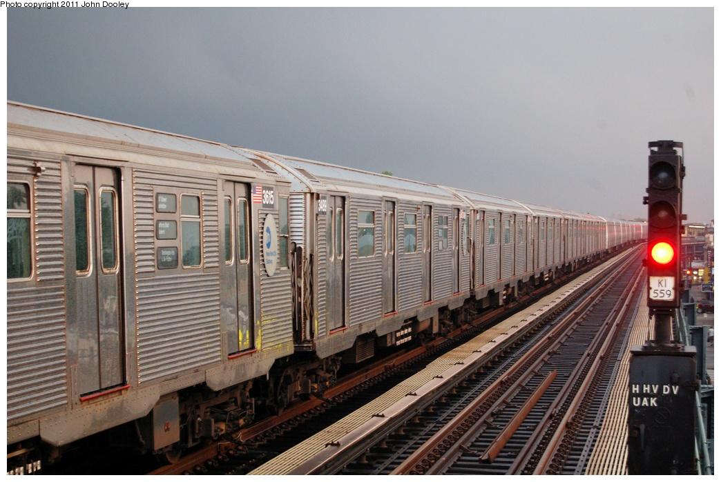 (312k, 1044x699)<br><b>Country:</b> United States<br><b>City:</b> New York<br><b>System:</b> New York City Transit<br><b>Line:</b> IND Fulton Street Line<br><b>Location:</b> 104th Street/Oxford Ave. <br><b>Route:</b> A<br><b>Car:</b> R-32 (Budd, 1964)  3489 <br><b>Photo by:</b> John Dooley<br><b>Date:</b> 7/29/2011<br><b>Viewed (this week/total):</b> 0 / 780