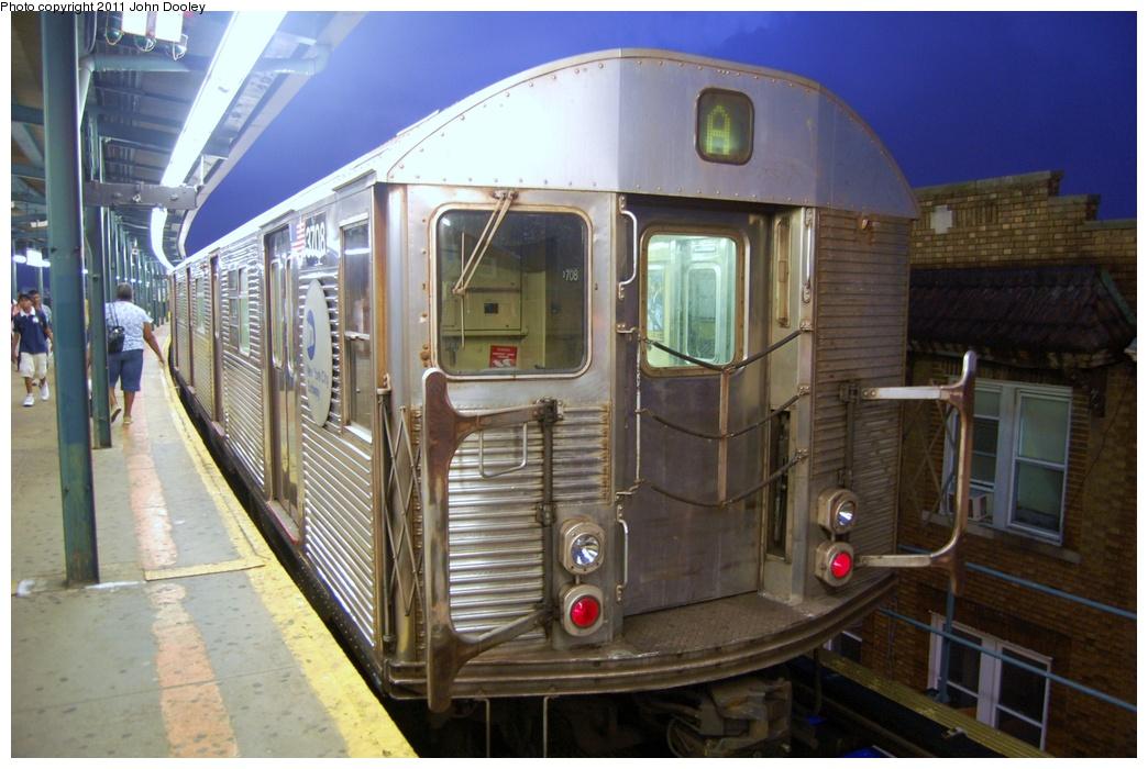 (301k, 1044x700)<br><b>Country:</b> United States<br><b>City:</b> New York<br><b>System:</b> New York City Transit<br><b>Line:</b> IND Fulton Street Line<br><b>Location:</b> Lefferts Boulevard <br><b>Route:</b> A<br><b>Car:</b> R-32 (Budd, 1964)  3708 <br><b>Photo by:</b> John Dooley<br><b>Date:</b> 7/29/2011<br><b>Viewed (this week/total):</b> 0 / 676