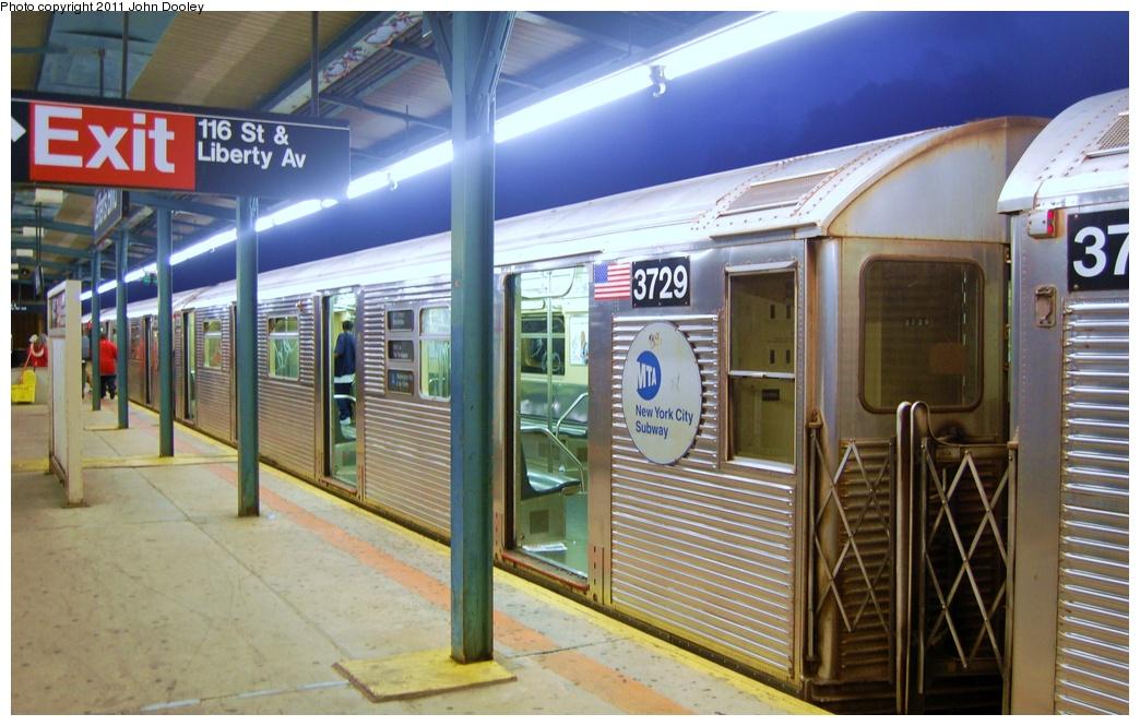 (306k, 1044x665)<br><b>Country:</b> United States<br><b>City:</b> New York<br><b>System:</b> New York City Transit<br><b>Line:</b> IND Fulton Street Line<br><b>Location:</b> Lefferts Boulevard <br><b>Route:</b> A<br><b>Car:</b> R-32 (Budd, 1964)  3729 <br><b>Photo by:</b> John Dooley<br><b>Date:</b> 7/29/2011<br><b>Viewed (this week/total):</b> 0 / 702