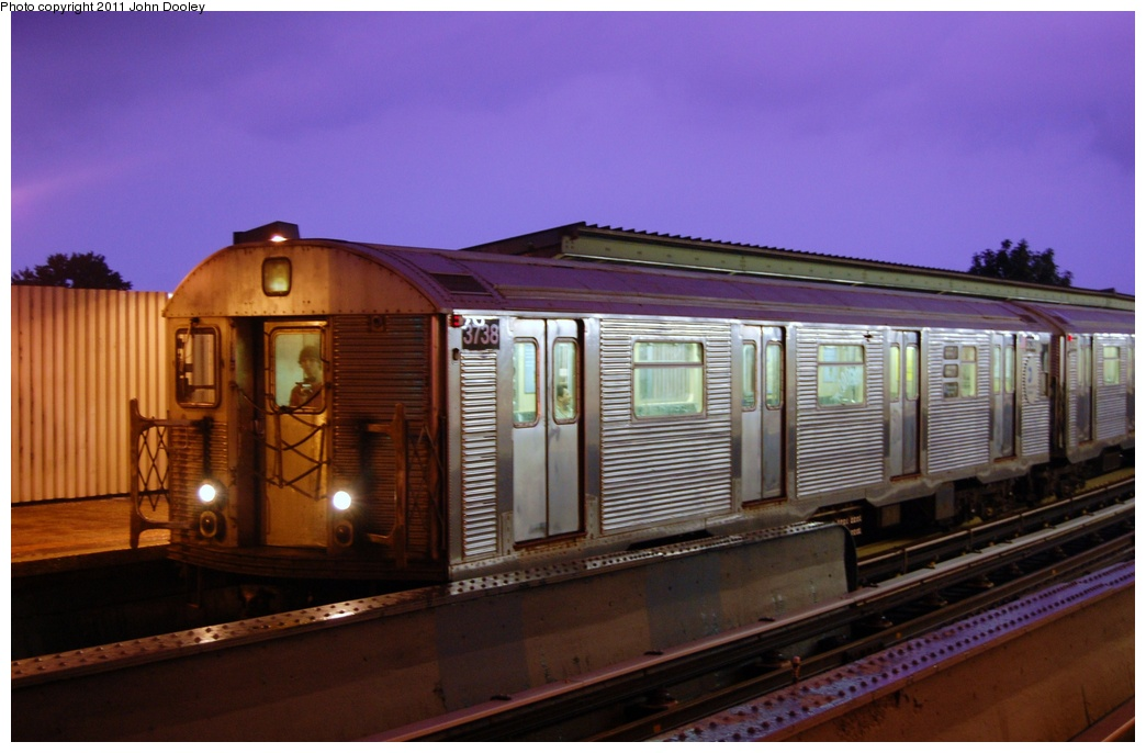 (254k, 1044x686)<br><b>Country:</b> United States<br><b>City:</b> New York<br><b>System:</b> New York City Transit<br><b>Line:</b> IND Fulton Street Line<br><b>Location:</b> 104th Street/Oxford Ave. <br><b>Route:</b> A<br><b>Car:</b> R-32 (Budd, 1964)  3738 <br><b>Photo by:</b> John Dooley<br><b>Date:</b> 7/29/2011<br><b>Viewed (this week/total):</b> 7 / 817