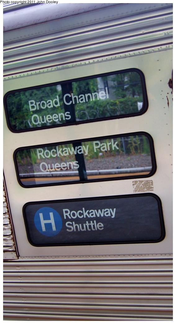 (237k, 567x1044)<br><b>Country:</b> United States<br><b>City:</b> New York<br><b>System:</b> New York City Transit<br><b>Line:</b> IND Fulton Street Line<br><b>Location:</b> 80th Street/Hudson Street <br><b>Route:</b> S<br><b>Car:</b> R-32 (Budd, 1964)   <br><b>Photo by:</b> John Dooley<br><b>Date:</b> 7/24/2011<br><b>Notes:</b> Rockaway shuttle displaying H route sign.<br><b>Viewed (this week/total):</b> 2 / 1384