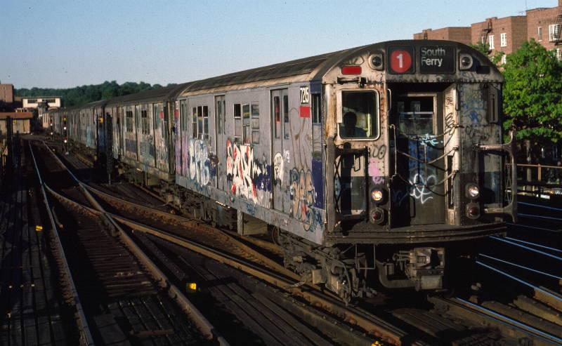 (69k, 800x493)<br><b>Country:</b> United States<br><b>City:</b> New York<br><b>System:</b> New York City Transit<br><b>Line:</b> IRT West Side Line<br><b>Location:</b> 238th Street <br><b>Route:</b> 1<br><b>Car:</b> R-21 (St. Louis, 1956-57) 7215 <br><b>Photo by:</b> Robert Callahan<br><b>Date:</b> 9/21/1984<br><b>Viewed (this week/total):</b> 0 / 1049