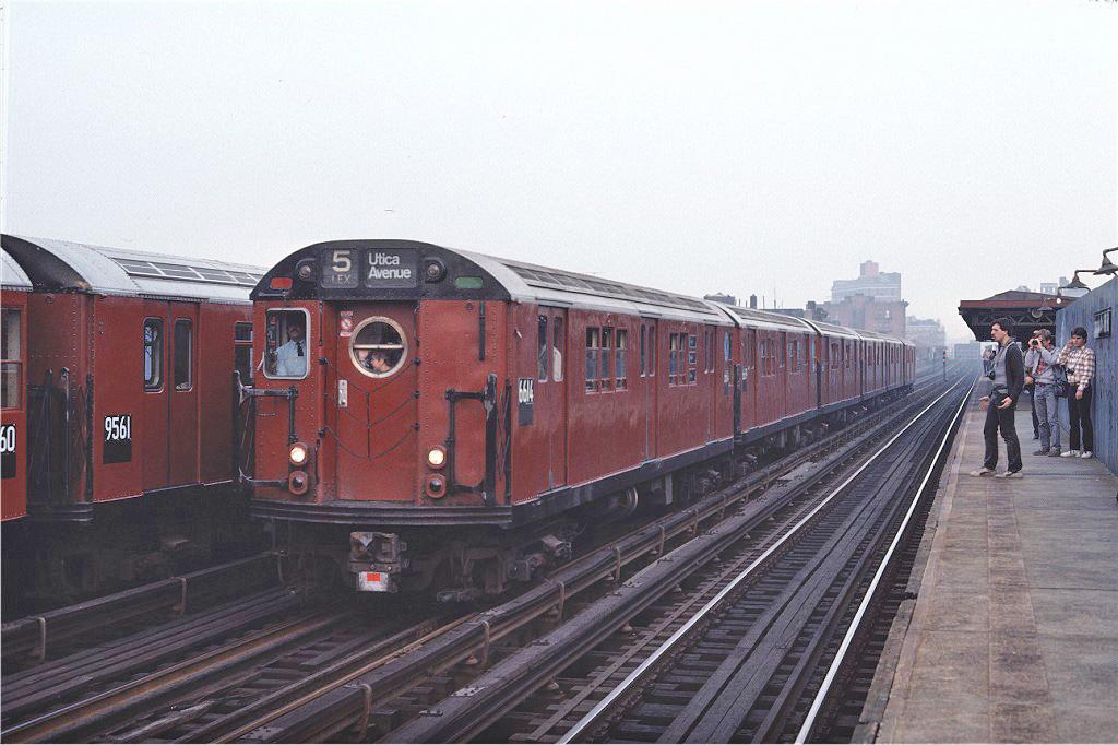 (231k, 1024x682)<br><b>Country:</b> United States<br><b>City:</b> New York<br><b>System:</b> New York City Transit<br><b>Line:</b> IRT White Plains Road Line<br><b>Location:</b> Intervale Avenue <br><b>Route:</b> Fan Trip<br><b>Car:</b> R-17 (St. Louis, 1955-56) 6614 <br><b>Photo by:</b> Steve Zabel<br><b>Collection of:</b> Joe Testagrose<br><b>Date:</b> 11/8/1987<br><b>Viewed (this week/total):</b> 1 / 1240