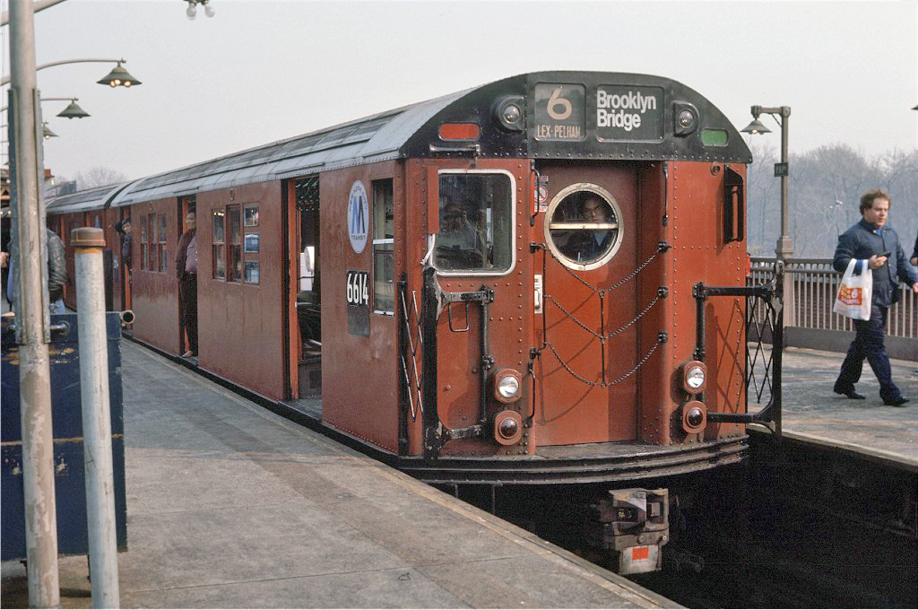 (265k, 1024x680)<br><b>Country:</b> United States<br><b>City:</b> New York<br><b>System:</b> New York City Transit<br><b>Line:</b> IRT Pelham Line<br><b>Location:</b> Pelham Bay Park <br><b>Route:</b> Fan Trip<br><b>Car:</b> R-17 (St. Louis, 1955-56) 6614 <br><b>Photo by:</b> Steve Zabel<br><b>Collection of:</b> Joe Testagrose<br><b>Date:</b> 11/8/1987<br><b>Viewed (this week/total):</b> 0 / 1501