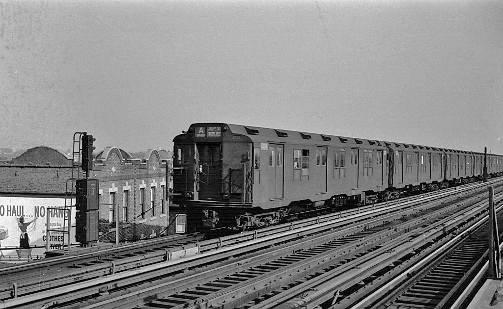 (244k, 1024x630)<br><b>Country:</b> United States<br><b>City:</b> New York<br><b>System:</b> New York City Transit<br><b>Line:</b> IND Fulton Street Line<br><b>Location:</b> 104th Street/Oxford Ave. <br><b>Route:</b> A<br><b>Car:</b> R-10 (American Car & Foundry, 1948) 3106 <br><b>Collection of:</b> John Barnes<br><b>Viewed (this week/total):</b> 0 / 1150