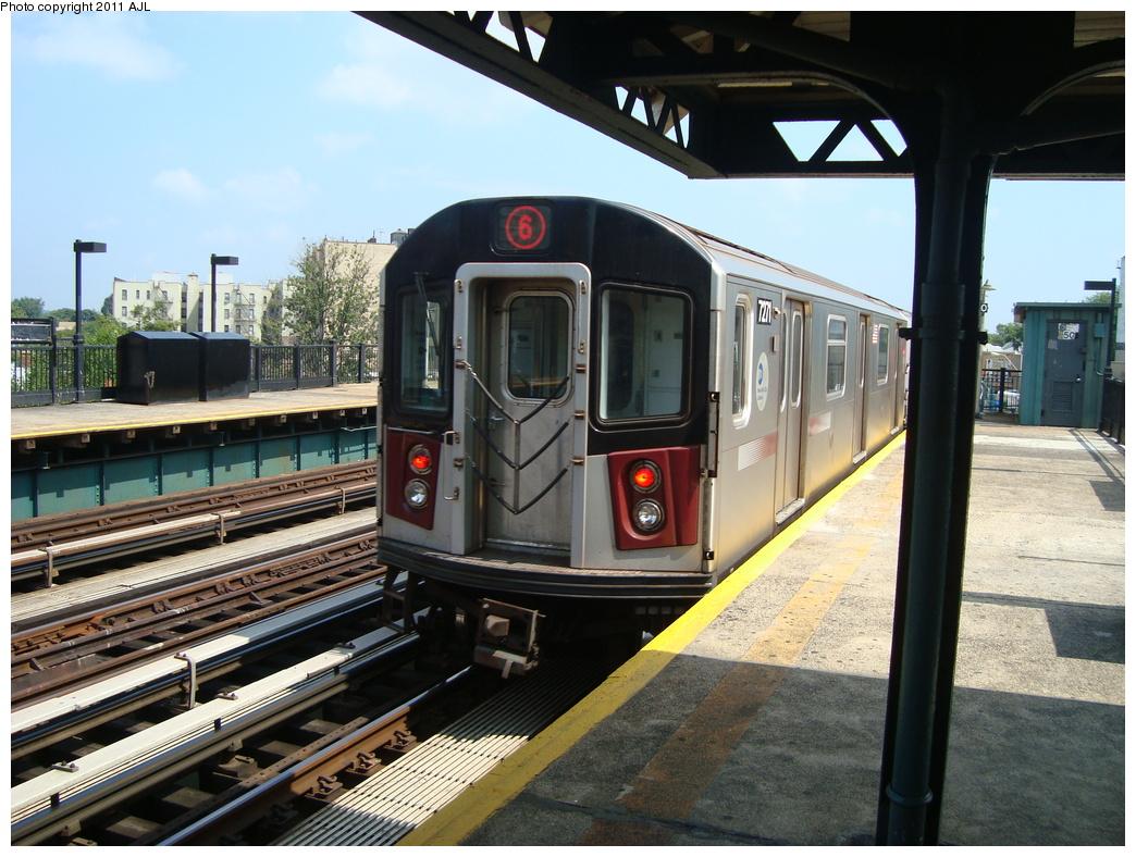 (360k, 1044x788)<br><b>Country:</b> United States<br><b>City:</b> New York<br><b>System:</b> New York City Transit<br><b>Line:</b> IRT Pelham Line<br><b>Location:</b> Buhre Avenue <br><b>Route:</b> 6<br><b>Car:</b> R-142A (Primary Order, Kawasaki, 1999-2002)  7271 <br><b>Photo by:</b> Anthony J. Liccese<br><b>Date:</b> 8/8/2011<br><b>Viewed (this week/total):</b> 1 / 978