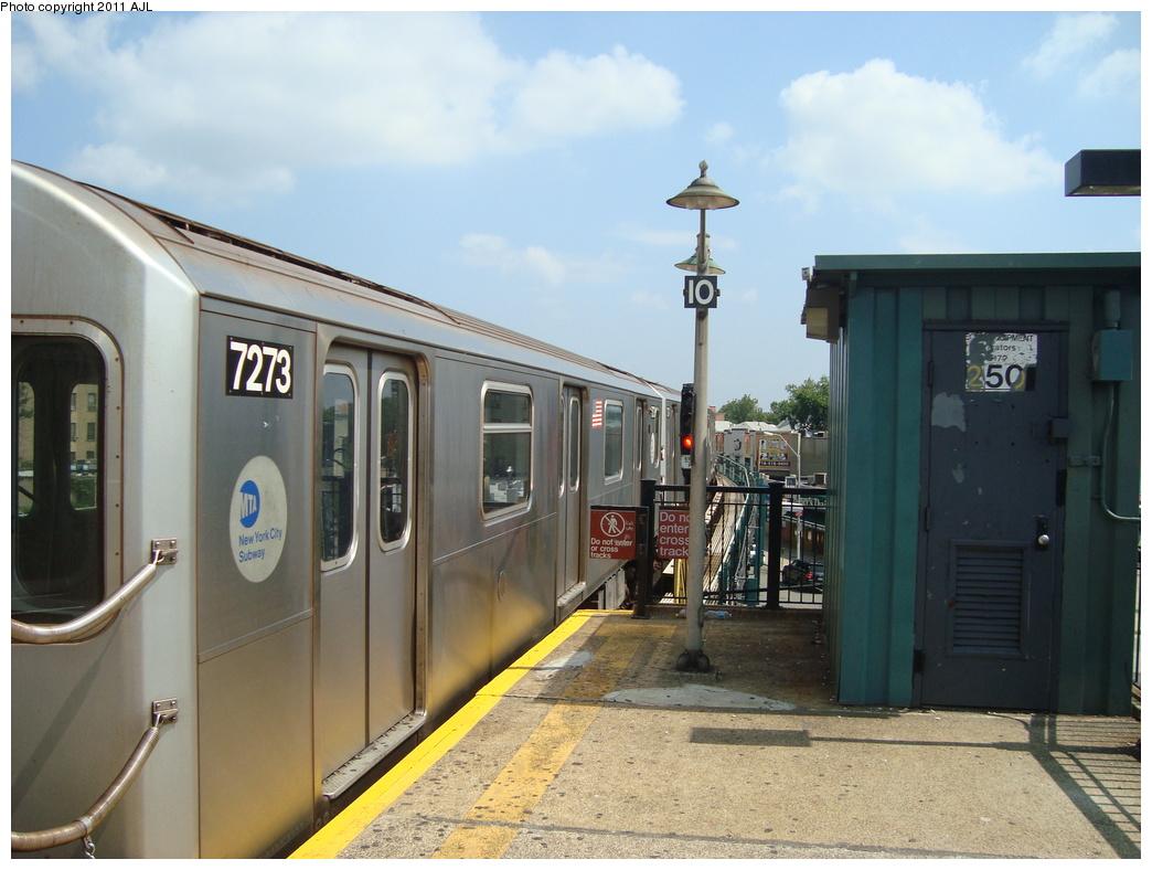 (301k, 1044x788)<br><b>Country:</b> United States<br><b>City:</b> New York<br><b>System:</b> New York City Transit<br><b>Line:</b> IRT Pelham Line<br><b>Location:</b> Buhre Avenue <br><b>Route:</b> 6<br><b>Car:</b> R-142A (Primary Order, Kawasaki, 1999-2002)  7273 <br><b>Photo by:</b> Anthony J. Liccese<br><b>Date:</b> 8/8/2011<br><b>Viewed (this week/total):</b> 2 / 942