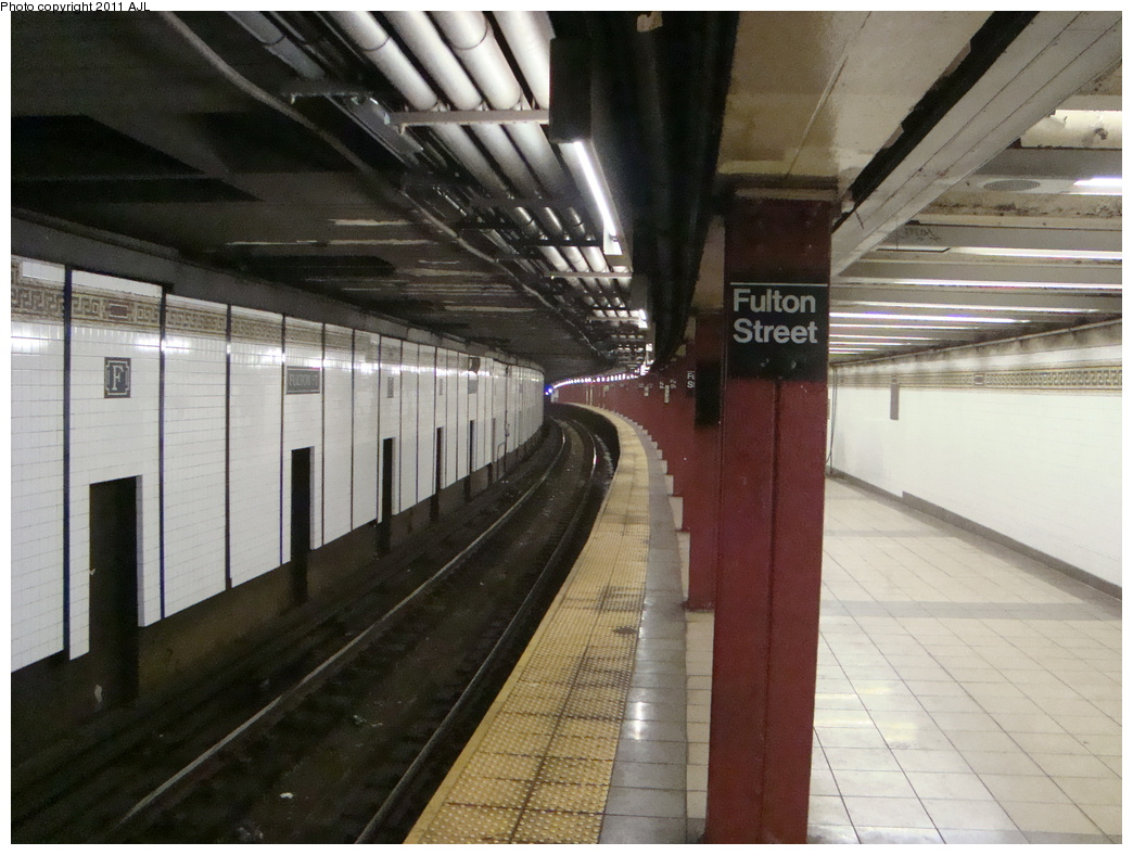 (327k, 1044x788)<br><b>Country:</b> United States<br><b>City:</b> New York<br><b>System:</b> New York City Transit<br><b>Line:</b> BMT Nassau Street/Jamaica Line<br><b>Location:</b> Fulton Street <br><b>Photo by:</b> Anthony J. Liccese<br><b>Date:</b> 8/8/2011<br><b>Viewed (this week/total):</b> 0 / 1524