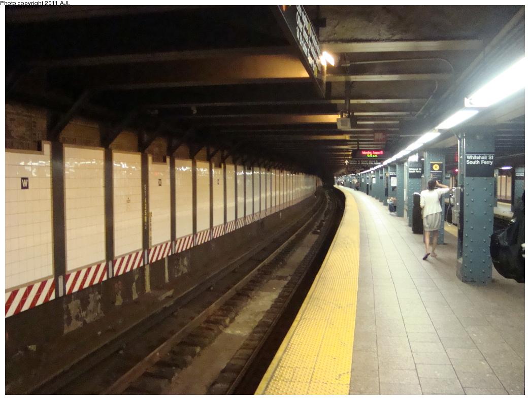 (308k, 1044x788)<br><b>Country:</b> United States<br><b>City:</b> New York<br><b>System:</b> New York City Transit<br><b>Line:</b> BMT Broadway Line<br><b>Location:</b> Whitehall Street <br><b>Photo by:</b> Anthony J. Liccese<br><b>Date:</b> 8/8/2011<br><b>Viewed (this week/total):</b> 0 / 782