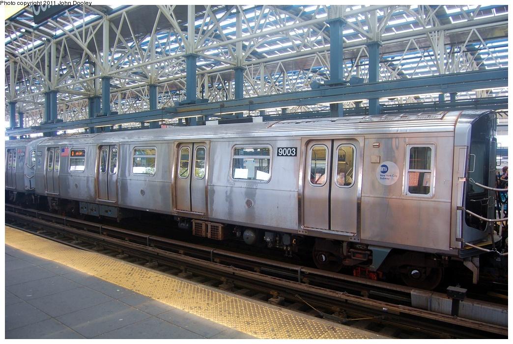 (383k, 1044x701)<br><b>Country:</b> United States<br><b>City:</b> New York<br><b>System:</b> New York City Transit<br><b>Location:</b> Coney Island/Stillwell Avenue<br><b>Route:</b> Q<br><b>Car:</b> R-160B (Option 1) (Kawasaki, 2008-2009)  9003 <br><b>Photo by:</b> John Dooley<br><b>Date:</b> 7/23/2011<br><b>Viewed (this week/total):</b> 0 / 996