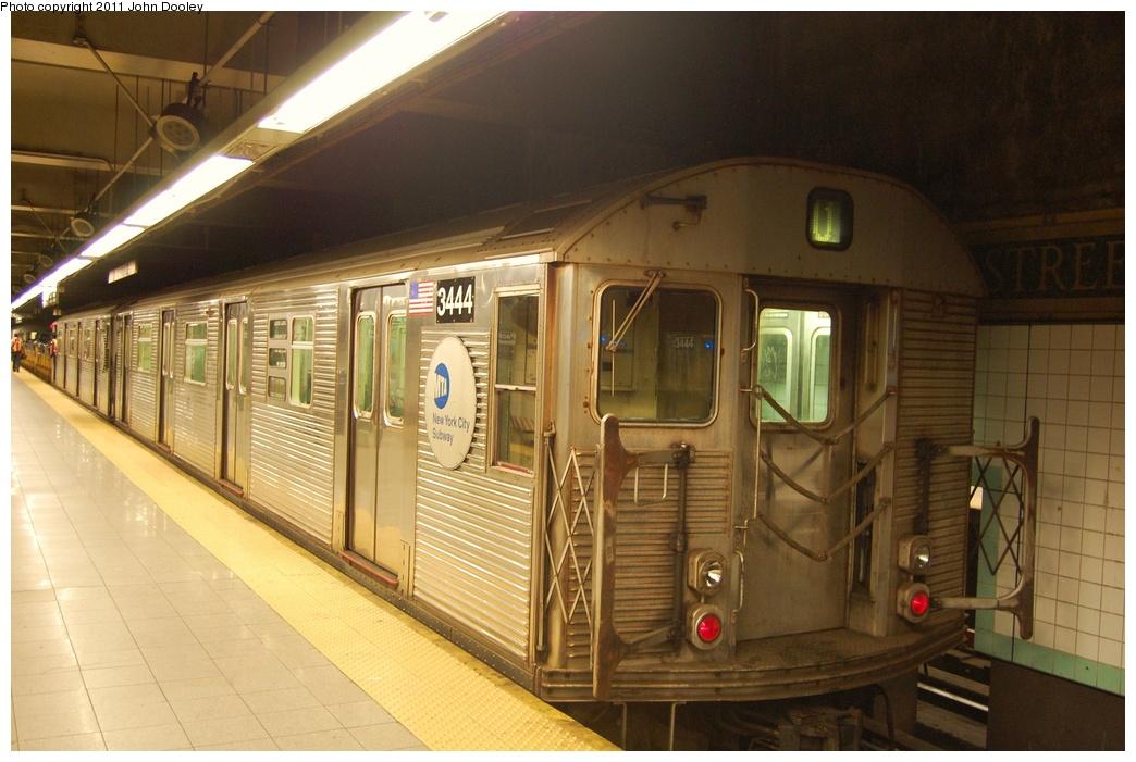 (300k, 1044x701)<br><b>Country:</b> United States<br><b>City:</b> New York<br><b>System:</b> New York City Transit<br><b>Line:</b> BMT 4th Avenue<br><b>Location:</b> Pacific Street <br><b>Route:</b> Work Service<br><b>Car:</b> R-32 (Budd, 1964)  3444 <br><b>Photo by:</b> John Dooley<br><b>Date:</b> 7/7/2011<br><b>Notes:</b> Mismated pair in work service.<br><b>Viewed (this week/total):</b> 1 / 1154