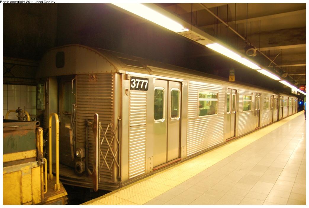 (277k, 1044x701)<br><b>Country:</b> United States<br><b>City:</b> New York<br><b>System:</b> New York City Transit<br><b>Line:</b> BMT 4th Avenue<br><b>Location:</b> Pacific Street <br><b>Route:</b> Work Service<br><b>Car:</b> R-32 (Budd, 1964)  3777 <br><b>Photo by:</b> John Dooley<br><b>Date:</b> 7/7/2011<br><b>Notes:</b> Mismated pair in work service.<br><b>Viewed (this week/total):</b> 0 / 1001