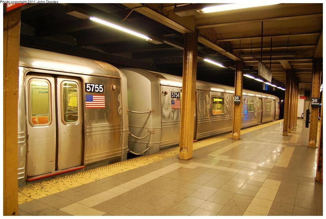 (329k, 1044x701)<br><b>Country:</b> United States<br><b>City:</b> New York<br><b>System:</b> New York City Transit<br><b>Line:</b> BMT 4th Avenue<br><b>Location:</b> 36th Street <br><b>Route:</b> R<br><b>Car:</b> R-46 (Pullman-Standard, 1974-75) 5754 <br><b>Photo by:</b> John Dooley<br><b>Date:</b> 7/8/2011<br><b>Viewed (this week/total):</b> 0 / 1373