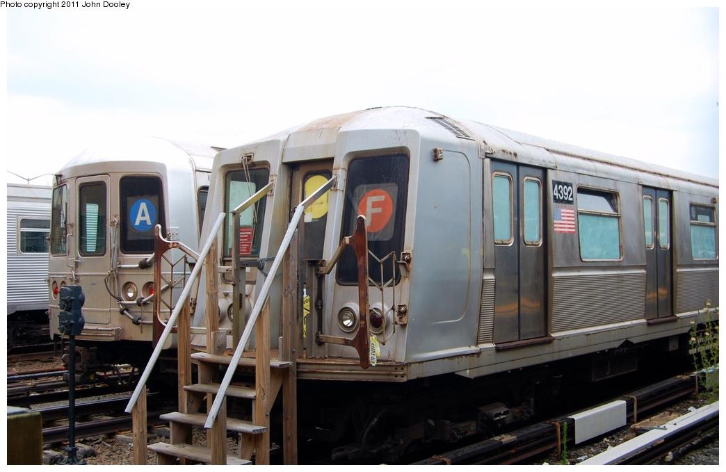 (245k, 1044x679)<br><b>Country:</b> United States<br><b>City:</b> New York<br><b>System:</b> New York City Transit<br><b>Location:</b> Rockaway Park Yard<br><b>Car:</b> R-40 (St. Louis, 1968)  4392 <br><b>Photo by:</b> John Dooley<br><b>Date:</b> 7/24/2011<br><b>Notes:</b> School car; With R-46 6222<br><b>Viewed (this week/total):</b> 1 / 1256