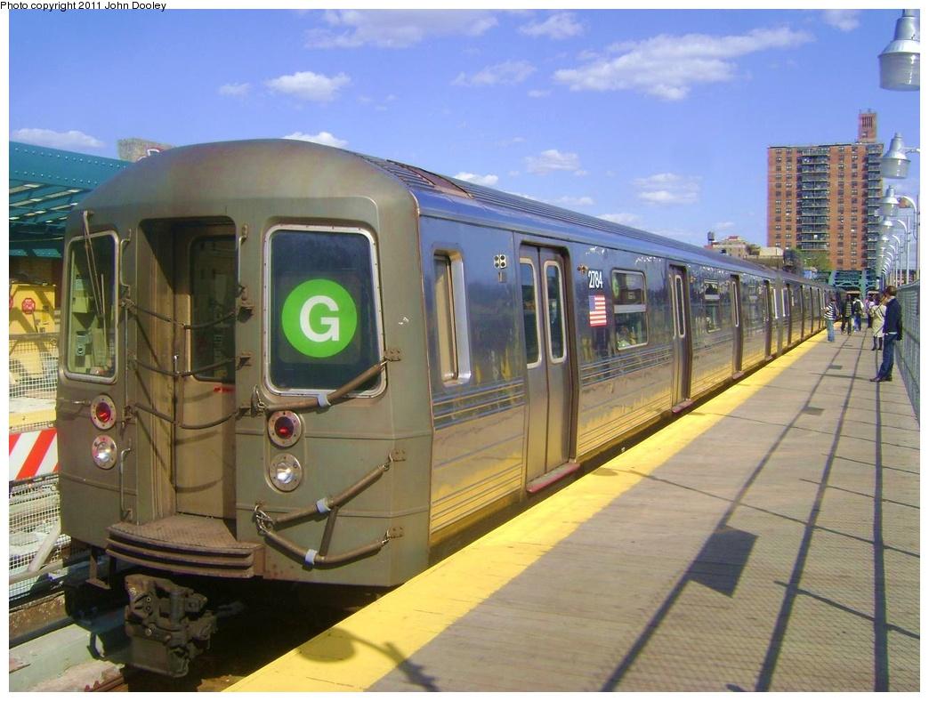 (300k, 1044x788)<br><b>Country:</b> United States<br><b>City:</b> New York<br><b>System:</b> New York City Transit<br><b>Line:</b> IND Crosstown Line<br><b>Location:</b> 4th Avenue <br><b>Route:</b> G<br><b>Car:</b> R-68 (Westinghouse-Amrail, 1986-1988)  2784 <br><b>Photo by:</b> John Dooley<br><b>Date:</b> 5/5/2011<br><b>Viewed (this week/total):</b> 1 / 1412