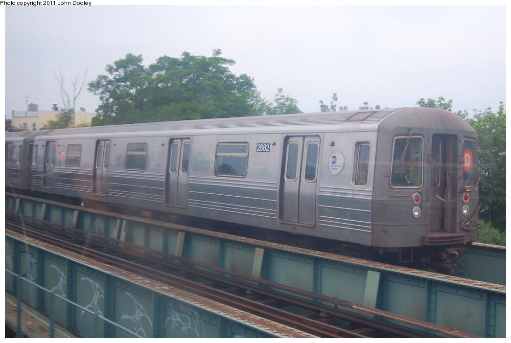 (232k, 1044x701)<br><b>Country:</b> United States<br><b>City:</b> New York<br><b>System:</b> New York City Transit<br><b>Location:</b> Coney Island Creek Bridge<br><b>Route:</b> D<br><b>Car:</b> R-68 (Westinghouse-Amrail, 1986-1988)  2882 <br><b>Photo by:</b> John Dooley<br><b>Date:</b> 6/28/2011<br><b>Viewed (this week/total):</b> 0 / 567