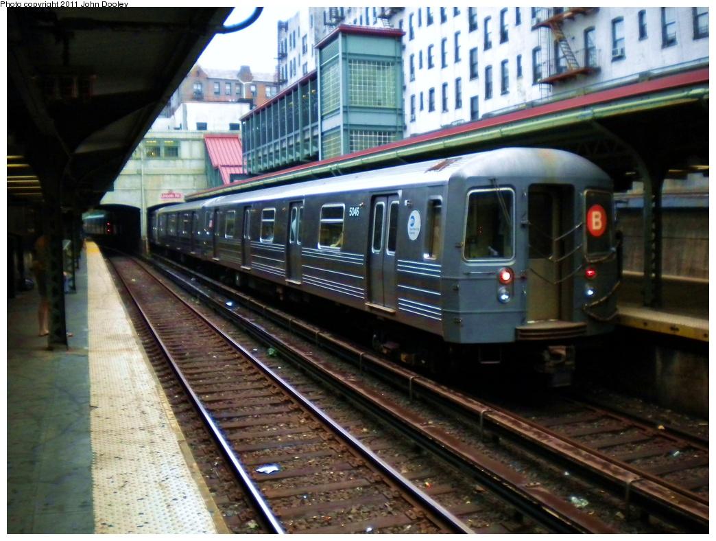 (320k, 1044x788)<br><b>Country:</b> United States<br><b>City:</b> New York<br><b>System:</b> New York City Transit<br><b>Line:</b> BMT Brighton Line<br><b>Location:</b> Prospect Park <br><b>Route:</b> B<br><b>Car:</b> R-68A (Kawasaki, 1988-1989)  5046 <br><b>Photo by:</b> John Dooley<br><b>Date:</b> 6/22/2011<br><b>Viewed (this week/total):</b> 1 / 974