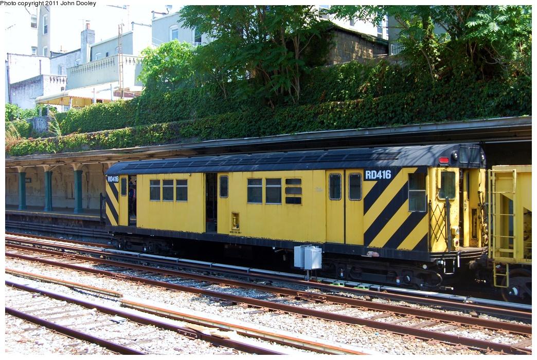 (432k, 1044x701)<br><b>Country:</b> United States<br><b>City:</b> New York<br><b>System:</b> New York City Transit<br><b>Line:</b> BMT Sea Beach Line<br><b>Location:</b> Bay Parkway (22nd Avenue) <br><b>Route:</b> Work Service<br><b>Car:</b> R-161 Rider Car (ex-R-33)  RD416 <br><b>Photo by:</b> John Dooley<br><b>Date:</b> 8/5/2011<br><b>Viewed (this week/total):</b> 1 / 871