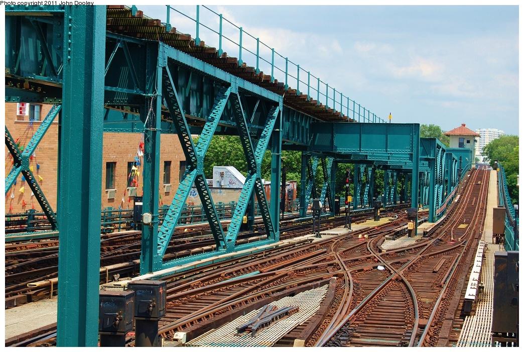 (451k, 1044x701)<br><b>Country:</b> United States<br><b>City:</b> New York<br><b>System:</b> New York City Transit<br><b>Line:</b> IRT Flushing Line<br><b>Location:</b> 111th Street <br><b>Photo by:</b> John Dooley<br><b>Date:</b> 6/27/2011<br><b>Notes:</b> Corona Yard lead tracks<br><b>Viewed (this week/total):</b> 0 / 1217
