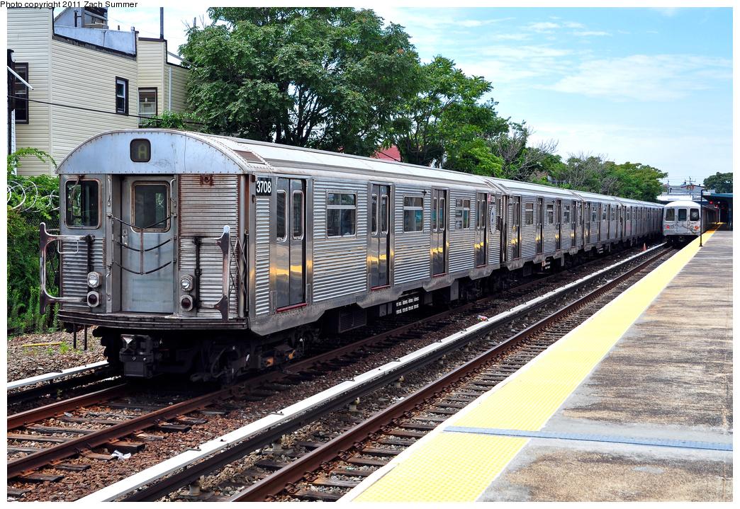 (537k, 1044x719)<br><b>Country:</b> United States<br><b>City:</b> New York<br><b>System:</b> New York City Transit<br><b>Line:</b> IND Rockaway<br><b>Location:</b> Rockaway Park/Beach 116th Street <br><b>Route:</b> A Layup<br><b>Car:</b> R-32 (Budd, 1964)  3708 <br><b>Photo by:</b> Zach Summer<br><b>Date:</b> 7/28/2011<br><b>Viewed (this week/total):</b> 0 / 974