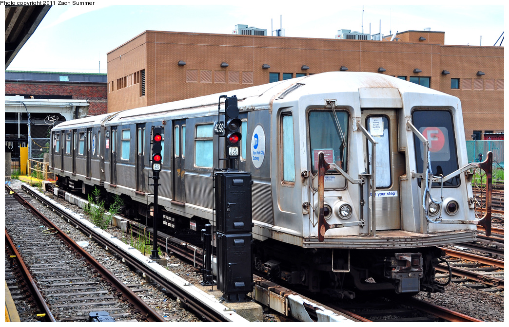 (455k, 1044x672)<br><b>Country:</b> United States<br><b>City:</b> New York<br><b>System:</b> New York City Transit<br><b>Location:</b> Rockaway Park Yard<br><b>Car:</b> R-40 (St. Louis, 1968)  4393 <br><b>Photo by:</b> Zach Summer<br><b>Date:</b> 7/28/2011<br><b>Notes:</b> School car<br><b>Viewed (this week/total):</b> 4 / 1342
