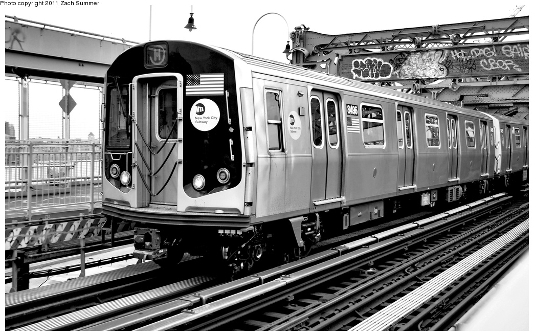 (304k, 1044x657)<br><b>Country:</b> United States<br><b>City:</b> New York<br><b>System:</b> New York City Transit<br><b>Line:</b> BMT Nassau Street/Jamaica Line<br><b>Location:</b> Williamsburg Bridge<br><b>Route:</b> M<br><b>Car:</b> R-160A-1 (Alstom, 2005-2008, 4 car sets)  8496 <br><b>Photo by:</b> Zach Summer<br><b>Date:</b> 7/28/2011<br><b>Viewed (this week/total):</b> 0 / 920