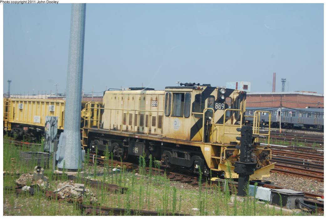 (321k, 1044x701)<br><b>Country:</b> United States<br><b>City:</b> New York<br><b>System:</b> New York City Transit<br><b>Location:</b> Coney Island Yard<br><b>Route:</b> Work Service<br><b>Car:</b> R-77 Locomotive  889 <br><b>Photo by:</b> John Dooley<br><b>Date:</b> 7/20/2011<br><b>Viewed (this week/total):</b> 0 / 458