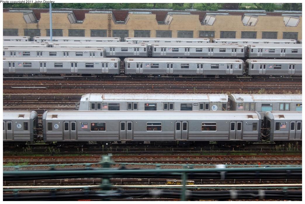(368k, 1044x698)<br><b>Country:</b> United States<br><b>City:</b> New York<br><b>System:</b> New York City Transit<br><b>Location:</b> Concourse Yard<br><b>Car:</b> R-68A (Kawasaki, 1988-1989)  5111 <br><b>Photo by:</b> John Dooley<br><b>Date:</b> 8/15/2011<br><b>Viewed (this week/total):</b> 0 / 947