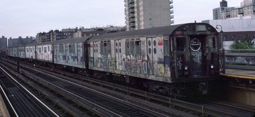 (71k, 1000x459)<br><b>Country:</b> United States<br><b>City:</b> New York<br><b>System:</b> New York City Transit<br><b>Line:</b> IRT West Side Line<br><b>Location:</b> 238th Street <br><b>Route:</b> 1<br><b>Car:</b> R-15 (American Car & Foundry, 1950) 5969 <br><b>Photo by:</b> Robert Callahan<br><b>Date:</b> 10/14/1984<br><b>Viewed (this week/total):</b> 0 / 1241