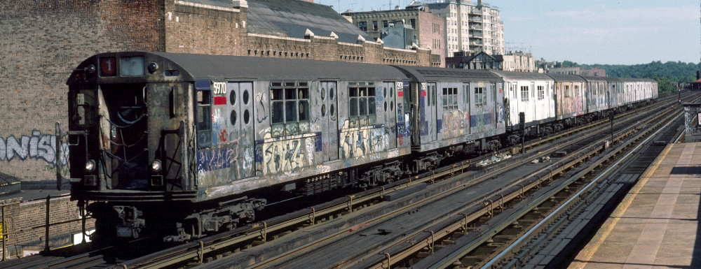 (65k, 1000x385)<br><b>Country:</b> United States<br><b>City:</b> New York<br><b>System:</b> New York City Transit<br><b>Line:</b> IRT West Side Line<br><b>Location:</b> 231st Street <br><b>Route:</b> 1<br><b>Car:</b> R-15 (American Car & Foundry, 1950) 5970 <br><b>Photo by:</b> Robert Callahan<br><b>Date:</b> 9/22/1984<br><b>Viewed (this week/total):</b> 6 / 1193