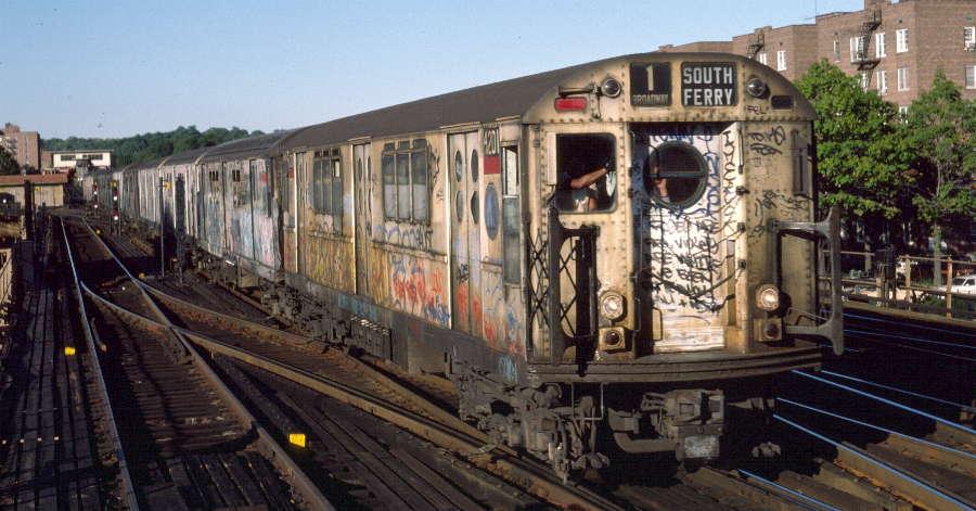 (68k, 900x471)<br><b>Country:</b> United States<br><b>City:</b> New York<br><b>System:</b> New York City Transit<br><b>Line:</b> IRT West Side Line<br><b>Location:</b> 238th Street <br><b>Route:</b> 1<br><b>Car:</b> R-15 (American Car & Foundry, 1950) 6201 <br><b>Photo by:</b> Robert Callahan<br><b>Date:</b> 10/4/1984<br><b>Viewed (this week/total):</b> 2 / 1336