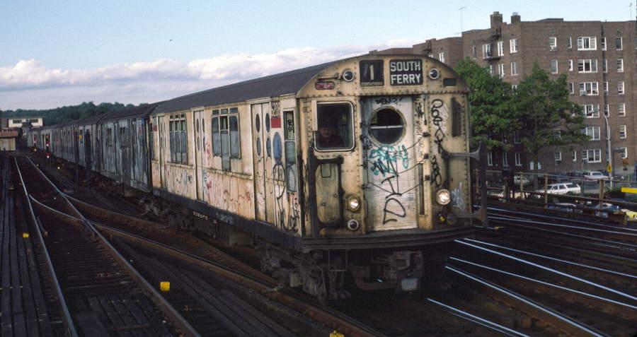 (62k, 900x477)<br><b>Country:</b> United States<br><b>City:</b> New York<br><b>System:</b> New York City Transit<br><b>Line:</b> IRT West Side Line<br><b>Location:</b> 238th Street <br><b>Route:</b> 1<br><b>Car:</b> R-15 (American Car & Foundry, 1950) 6208 <br><b>Photo by:</b> Robert Callahan<br><b>Date:</b> 10/5/1984<br><b>Viewed (this week/total):</b> 0 / 1263