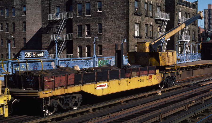 (75k, 900x523)<br><b>Country:</b> United States<br><b>City:</b> New York<br><b>System:</b> New York City Transit<br><b>Line:</b> IRT West Side Line<br><b>Location:</b> 215th Street <br><b>Route:</b> Work Service<br><b>Car:</b> Crane Car 166 <br><b>Photo by:</b> Robert Callahan<br><b>Date:</b> 10/6/1984<br><b>Viewed (this week/total):</b> 1 / 1139