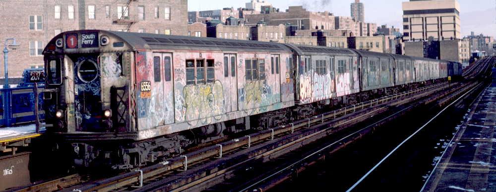(64k, 1000x387)<br><b>Country:</b> United States<br><b>City:</b> New York<br><b>System:</b> New York City Transit<br><b>Line:</b> IRT West Side Line<br><b>Location:</b> 207th Street <br><b>Route:</b> 1<br><b>Car:</b> R-17 (St. Louis, 1955-56) 6556 <br><b>Photo by:</b> Robert Callahan<br><b>Date:</b> 1/12/1985<br><b>Viewed (this week/total):</b> 1 / 1162