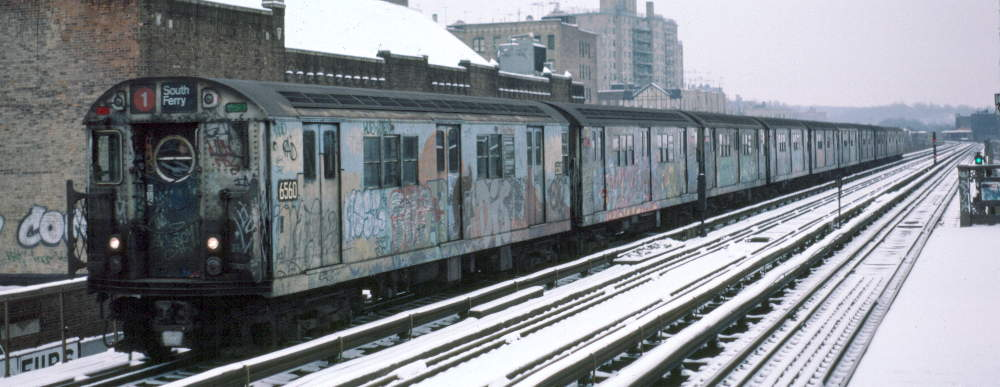 (63k, 1000x387)<br><b>Country:</b> United States<br><b>City:</b> New York<br><b>System:</b> New York City Transit<br><b>Line:</b> IRT West Side Line<br><b>Location:</b> 231st Street <br><b>Route:</b> 1<br><b>Car:</b> R-17 (St. Louis, 1955-56) 6560 <br><b>Photo by:</b> Robert Callahan<br><b>Date:</b> 2/2/1985<br><b>Viewed (this week/total):</b> 1 / 965