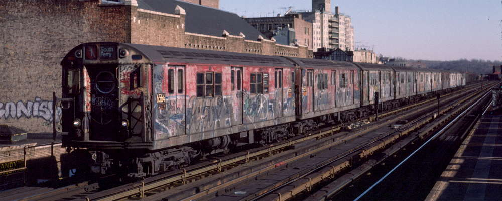 (62k, 1000x400)<br><b>Country:</b> United States<br><b>City:</b> New York<br><b>System:</b> New York City Transit<br><b>Line:</b> IRT West Side Line<br><b>Location:</b> 231st Street <br><b>Route:</b> 1<br><b>Car:</b> R-17 (St. Louis, 1955-56) 6564 <br><b>Photo by:</b> Robert Callahan<br><b>Date:</b> 2/18/1985<br><b>Viewed (this week/total):</b> 6 / 906