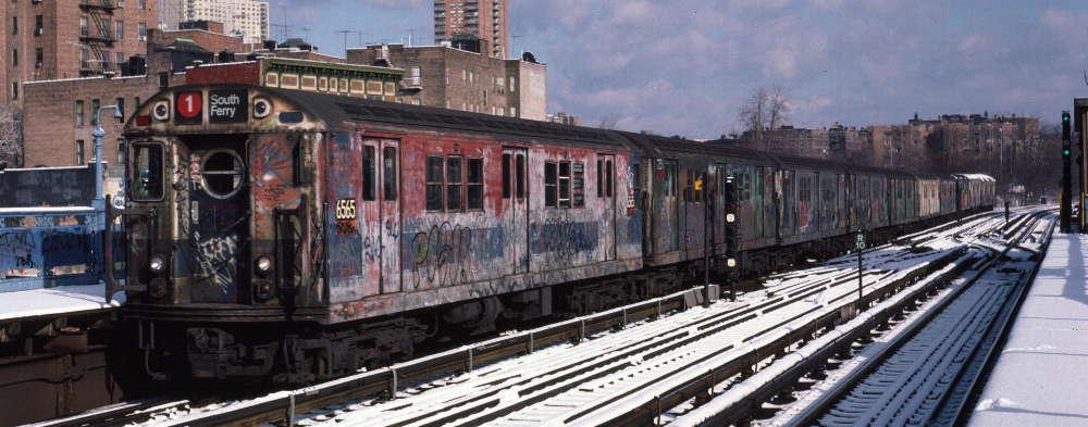 (67k, 1000x393)<br><b>Country:</b> United States<br><b>City:</b> New York<br><b>System:</b> New York City Transit<br><b>Line:</b> IRT West Side Line<br><b>Location:</b> 215th Street <br><b>Route:</b> 1<br><b>Car:</b> R-17 (St. Louis, 1955-56) 6565 <br><b>Photo by:</b> Robert Callahan<br><b>Date:</b> 1/5/1985<br><b>Viewed (this week/total):</b> 2 / 1322