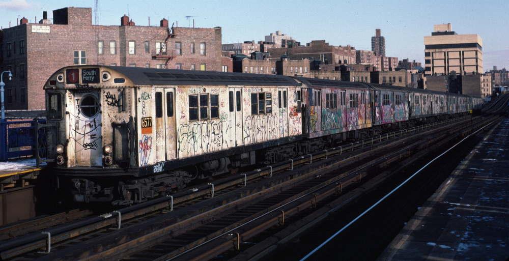 (74k, 1000x513)<br><b>Country:</b> United States<br><b>City:</b> New York<br><b>System:</b> New York City Transit<br><b>Line:</b> IRT West Side Line<br><b>Location:</b> 207th Street <br><b>Route:</b> 1<br><b>Car:</b> R-17 (St. Louis, 1955-56) 6577 <br><b>Photo by:</b> Robert Callahan<br><b>Date:</b> 1/12/1985<br><b>Viewed (this week/total):</b> 6 / 977