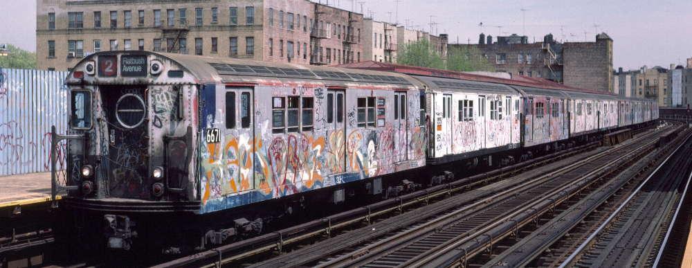 (68k, 1000x387)<br><b>Country:</b> United States<br><b>City:</b> New York<br><b>System:</b> New York City Transit<br><b>Line:</b> IRT White Plains Road Line<br><b>Location:</b> Bronx Park East <br><b>Route:</b> 2<br><b>Car:</b> R-17 (St. Louis, 1955-56) 6671 <br><b>Photo by:</b> Robert Callahan<br><b>Date:</b> 4/1985<br><b>Viewed (this week/total):</b> 0 / 1088