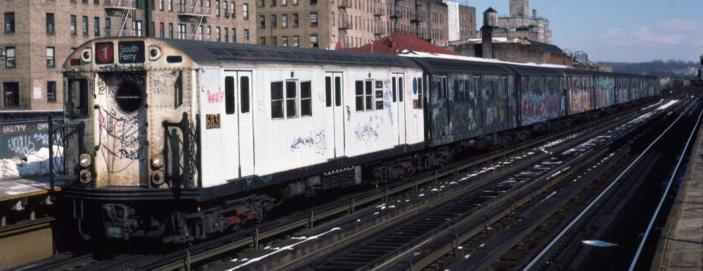 (67k, 1000x386)<br><b>Country:</b> United States<br><b>City:</b> New York<br><b>System:</b> New York City Transit<br><b>Line:</b> IRT West Side Line<br><b>Location:</b> 231st Street <br><b>Route:</b> 1<br><b>Car:</b> R-17 (St. Louis, 1955-56) 6831 <br><b>Photo by:</b> Robert Callahan<br><b>Date:</b> 2/9/1985<br><b>Viewed (this week/total):</b> 2 / 1112