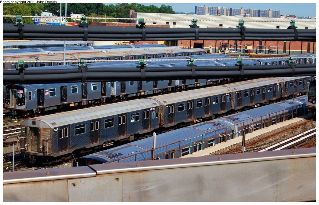 (363k, 1044x671)<br><b>Country:</b> United States<br><b>City:</b> New York<br><b>System:</b> New York City Transit<br><b>Location:</b> East New York Yard/Shops<br><b>Car:</b> R-32 (Budd, 1964)  3707/3706 <br><b>Photo by:</b> John Dooley<br><b>Date:</b> 8/17/2011<br><b>Viewed (this week/total):</b> 0 / 1097